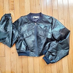 Girl's Faux-leather black bomber jacket